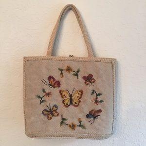 Vintage beige butterfly motif needlepoint purse